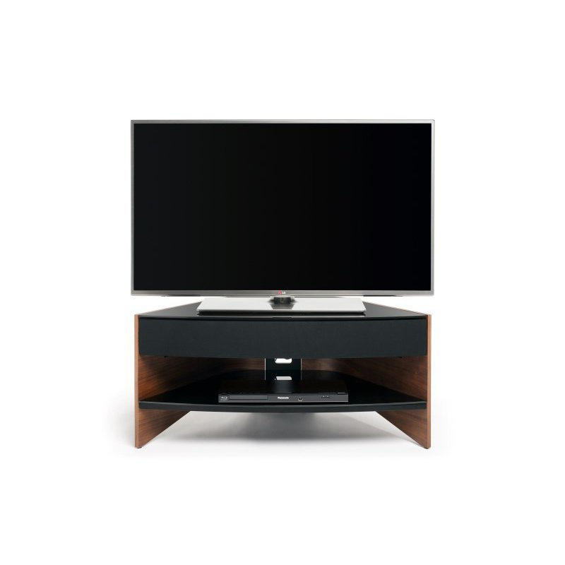 """Techlink Riva Sound Corner TV Stand with Curved Walnut Side Panels and Black Glass Shelves for Screens up to 50"""" (RV100SW)"""