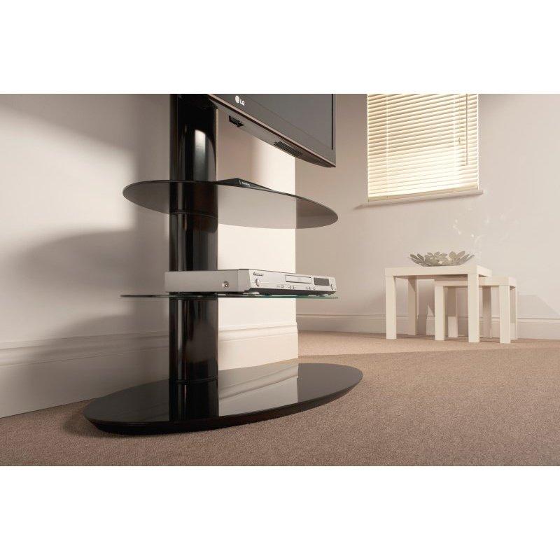 "Techlink Strata TV Stand High Gloss Black Three Shelf Eliptical Profiled Pedestal Stand for Screens up to 50"" (ST90E3)"