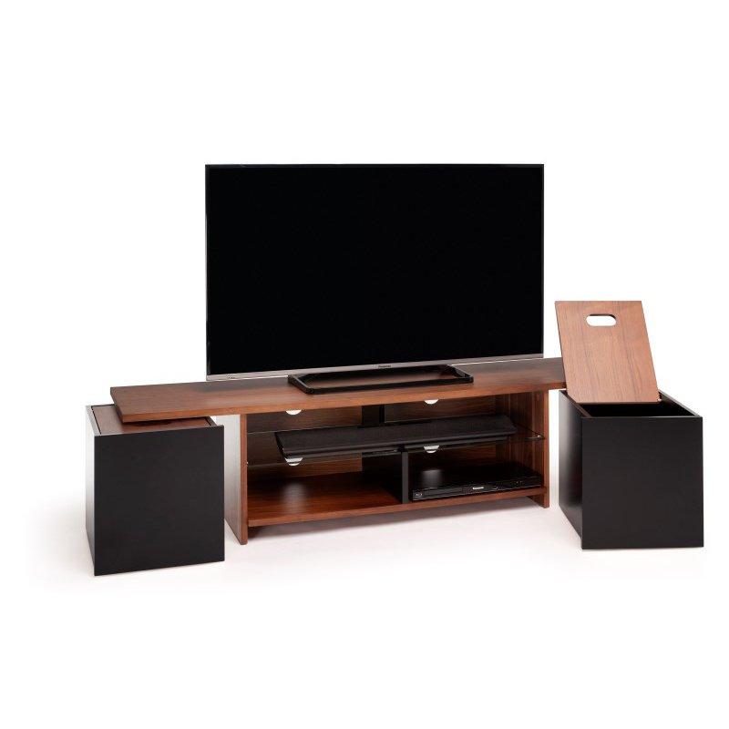 Techlink Trio Walnut & Satin Black TV Stand (TR165WB)