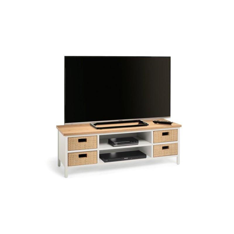 Techlink Wicker Light Oak & Warm Grey TV Stand (WK120LO)