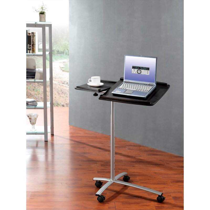 Techni Mobili Adjustable Standing Laptop Cart in Espresso