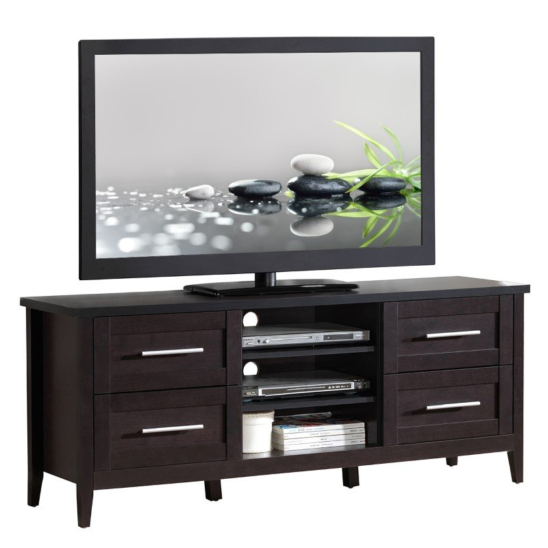 """Techni Mobili Elegant TV Stand with Storage For TVs up to 70"""" in Espresso"""