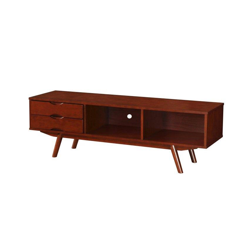 "Techni Mobili Elegant Wood Veneer 65"" TV stand with storage in Walnut"