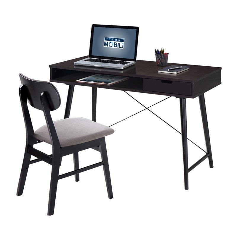 Techni Mobili Modern Desk with storage and Chair Set in Wenge and Gray