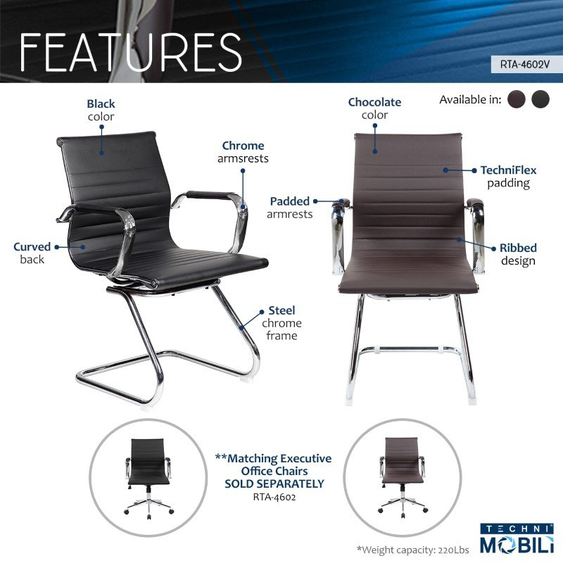 Techni Mobili Modern Visitor Office Chair in Chocolate