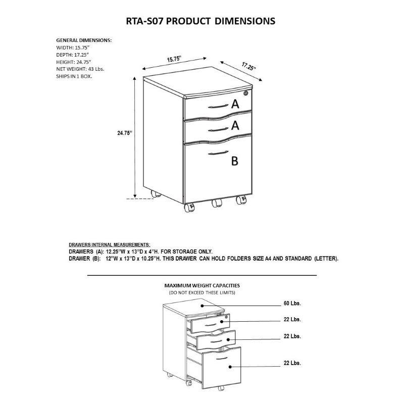 Techni Mobili Rolling storage and File Cabinet in Mahogany