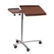 Techni Mobili Sit-to-Stand Rolling Adjustable Laptop Cart in Mahogany