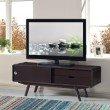 "Techni Mobili Stylish Wood Veneer 55"" TV stand with Door & Storage in Wenge"