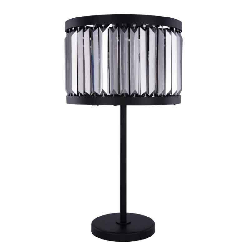 Urban Classic Chelsea 4 Light Matte Black Table Lamp Silver Shade (Grey) Royal Cut Crystal (1233TL18MB-SS/RC)