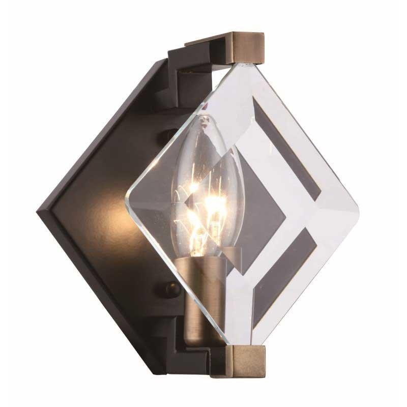 Urban Classic Endicott 1 Light Burnished Brass & Flat Black & Clear Glass Wall Sconce (4000W6FB)