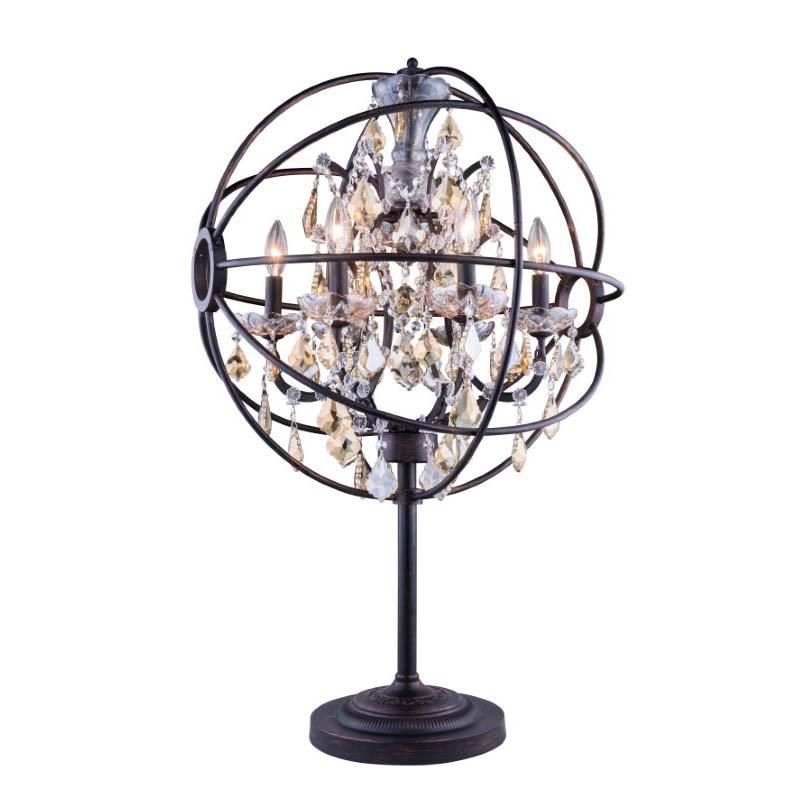 Urban Classic Geneva 6 Light Dark Bronze Table Lamp Golden Teak (Smoky) Royal Cut crystal (1130TL21DB-GT/RC)