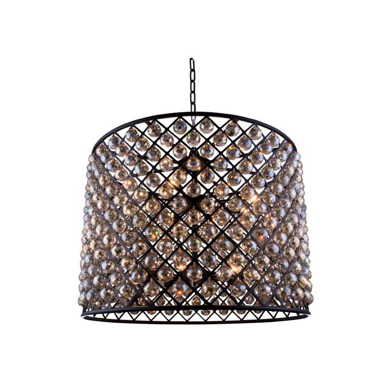 Urban Classic Madison 12 Light Matte Black Chandelier Golden Teak (Smoky) Royal Cut Crystal (1206D35MB-GT/RC)