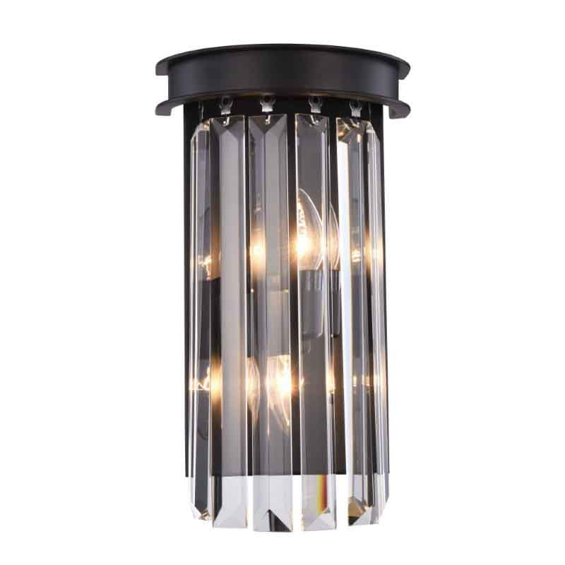 Urban Classic Sydney 2 Light Matte Black Wall Sconce Clear Royal Cut Crystal (1238W8MB/RC)