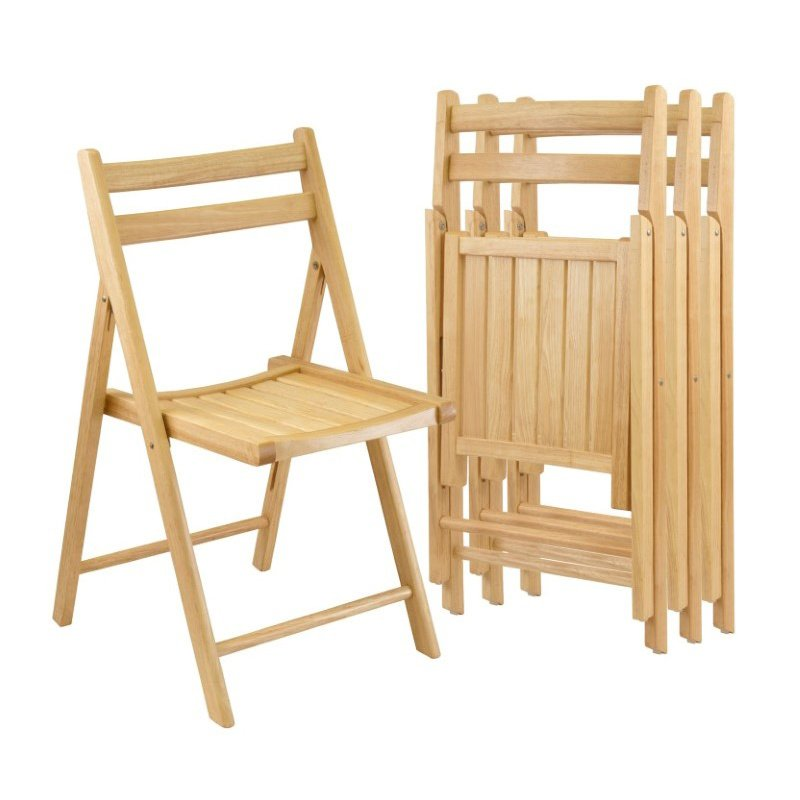 Winsome Wood 4-Piece Folding Chair Set in Beech