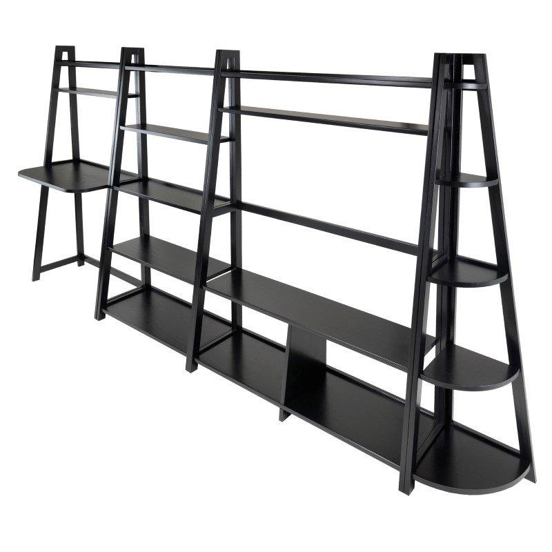 Winsome Wood Adam 4-Piece Writing Desk Corner Shelf and TV Stand Set in Black