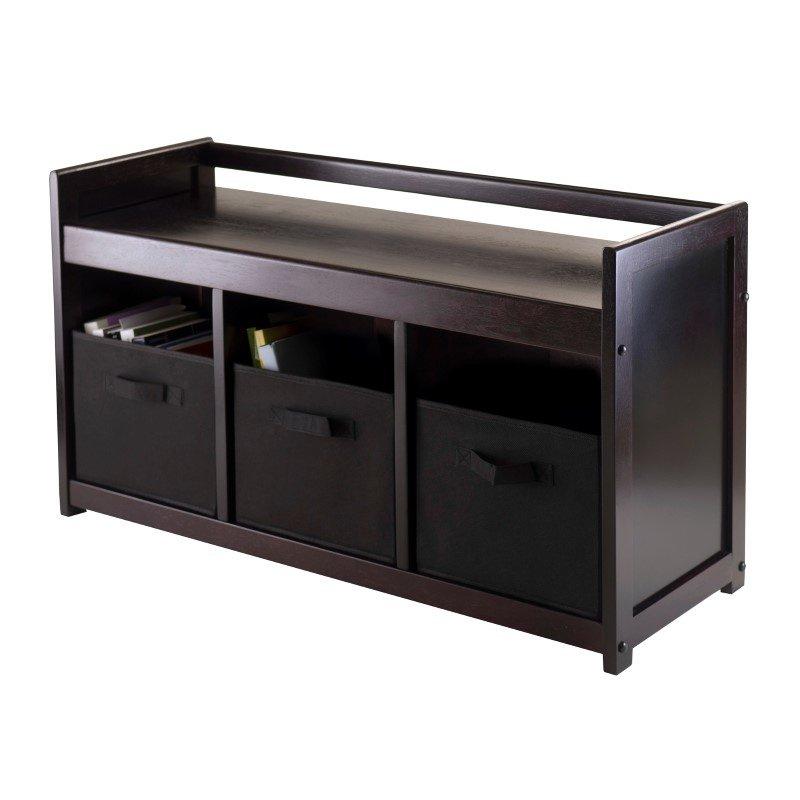 Winsome Wood Addison 4-Piece Storage Bench with 3 Baskets in Espresso