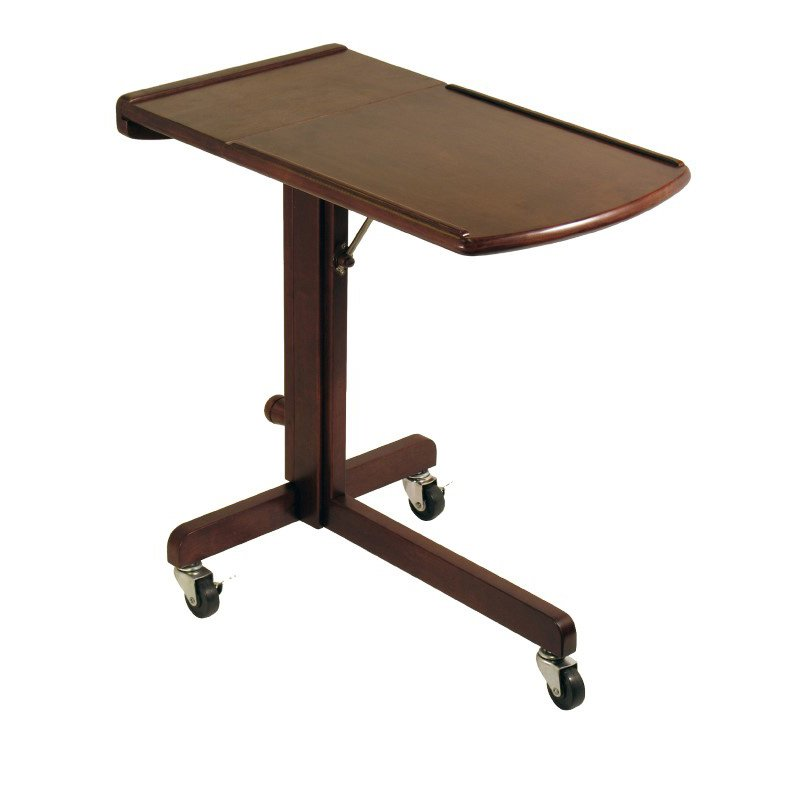 Winsome Wood Adjustable Mobile Laptop Cart in Antique Walnut