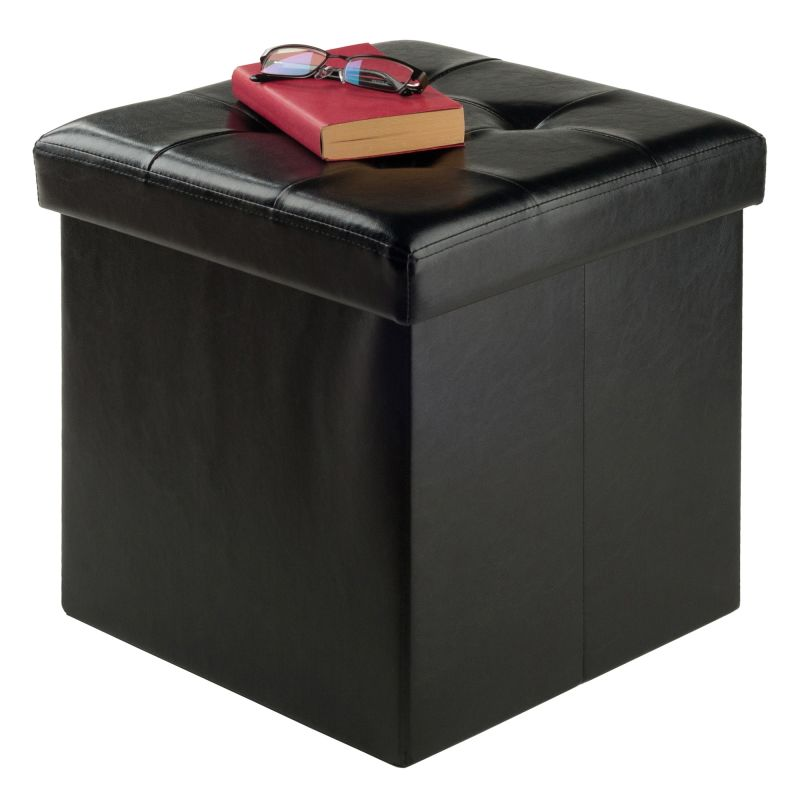 Winsome Wood Ashford Ottoman with Storage Faux Leather (20415)
