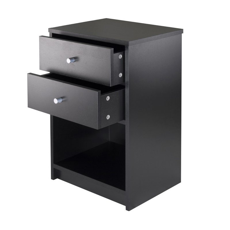 Winsome Wood Ava Accent Table with Two Drawers in Black