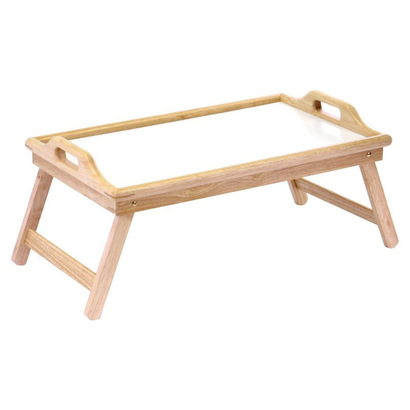 Winsome Wood Bed Tray with Handle in Natural and White Top