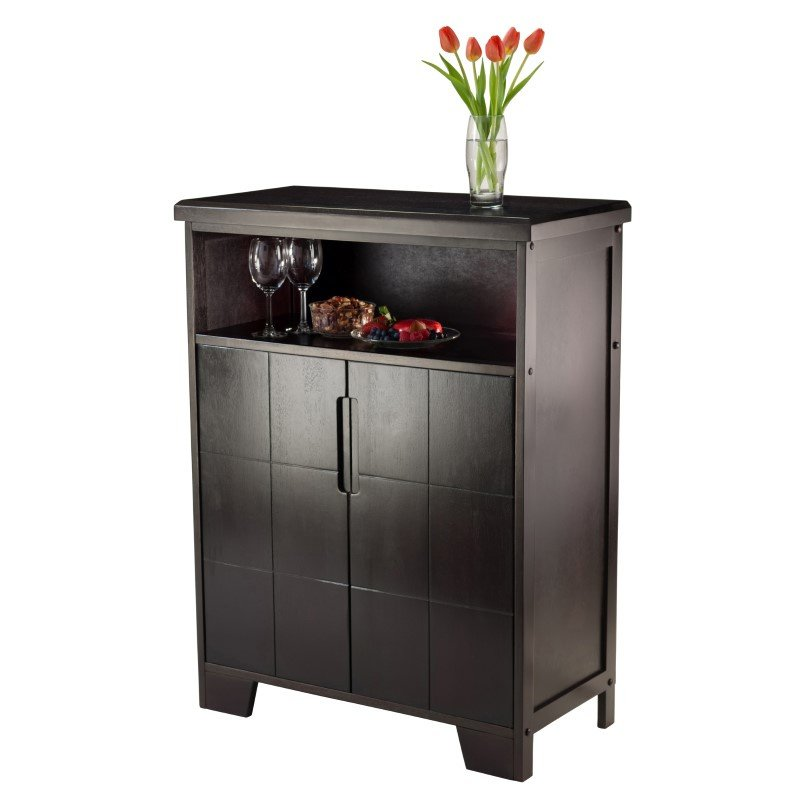 Winsome Wood Bonnay Wine Cabinet in Espresso