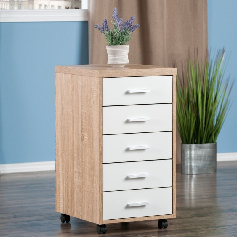 Winsome Wood Kenner Mobile Storage Cabinet, 5 Drawers, Reclaimed Wood / White Finish (18556)