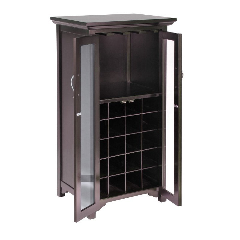 Winsome Wood Mason Wine Cabinet with French Doors in Espresso