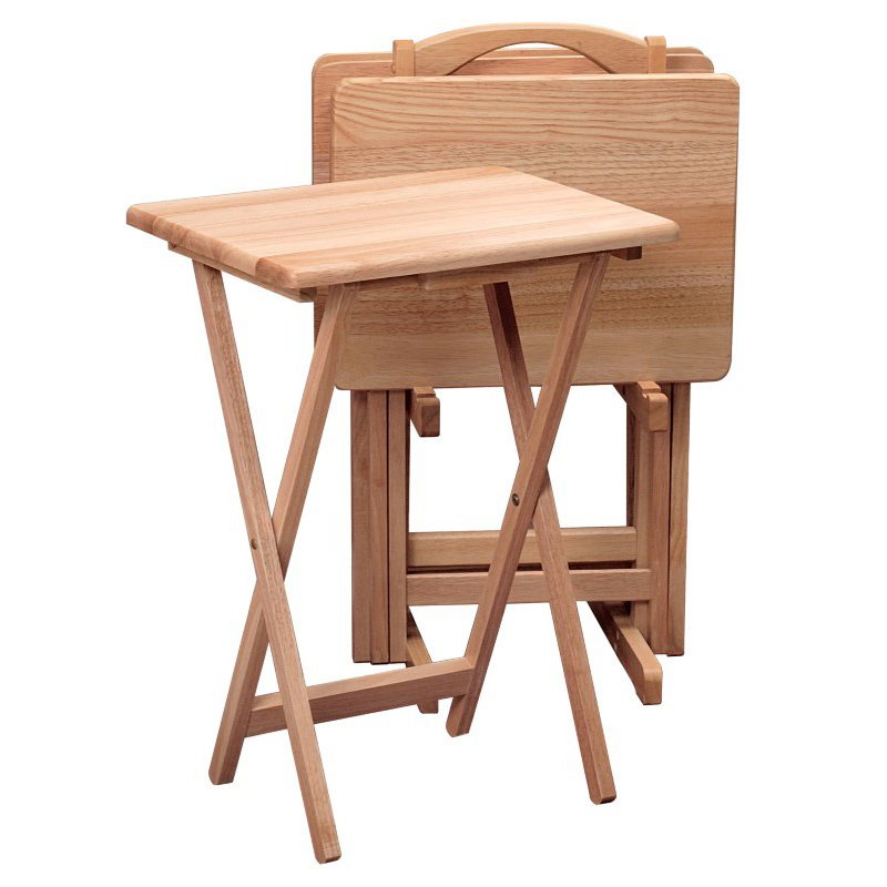 Winsome Wood Natural Beechwood 5-Piece TV Table with Stand