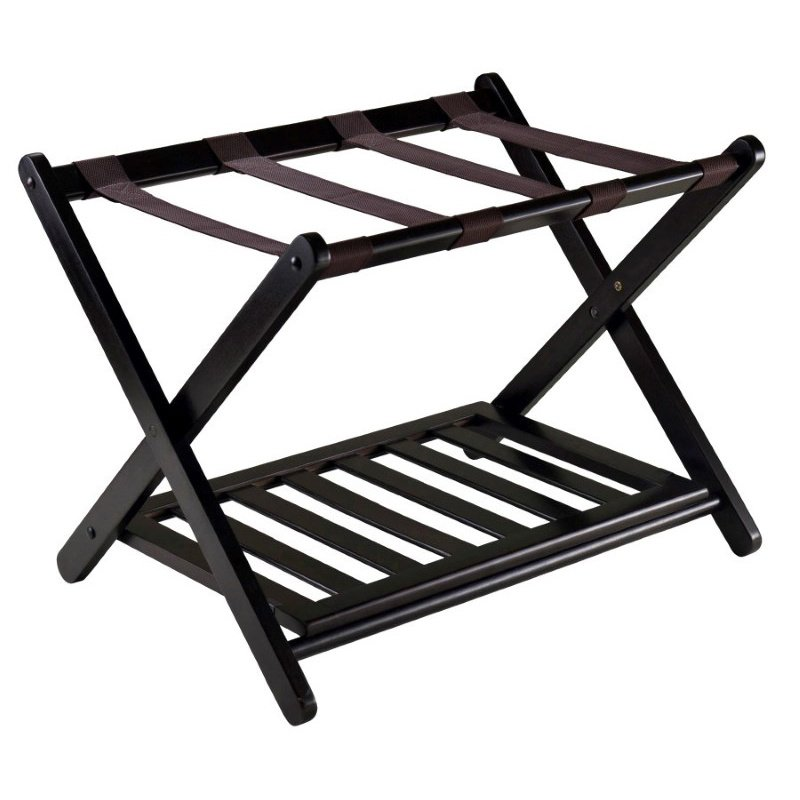 Winsome Wood Reese Foldable Luggage Rack with Shelf in Dark Espresso