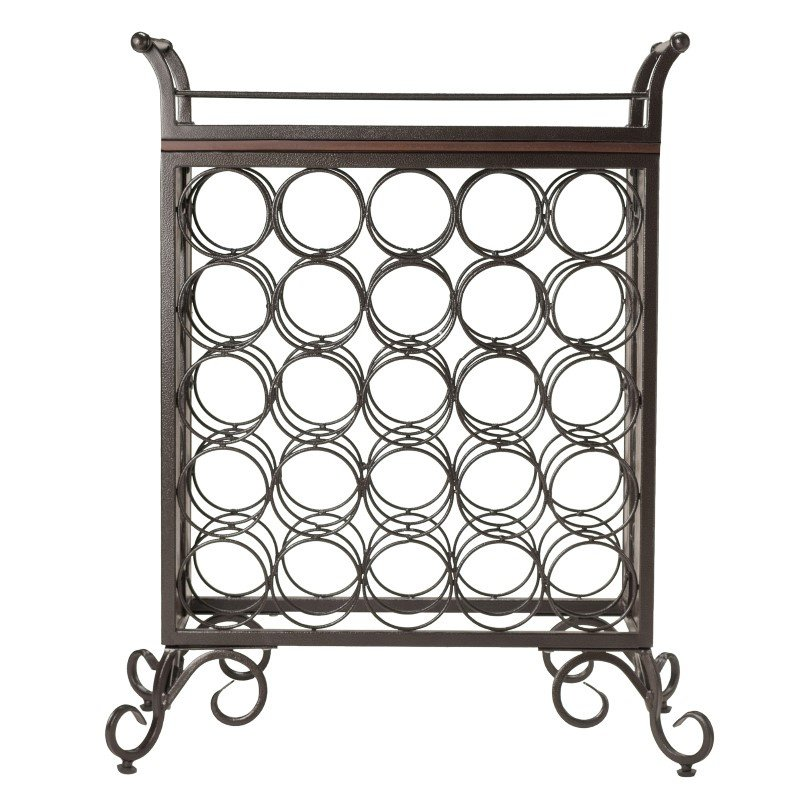 Winsome Wood Silvano Wine Rack 5x5 with Removable Tray in Dark Bronze