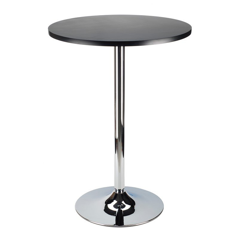 """Winsome Wood Spectrum 24"""" Round Bar Height Pub Table in Black and Chrome"""