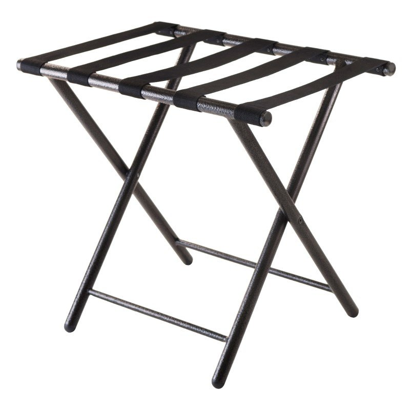 Winsome Wood Tavin Luggage Rack with Folding Straight Leg in Black