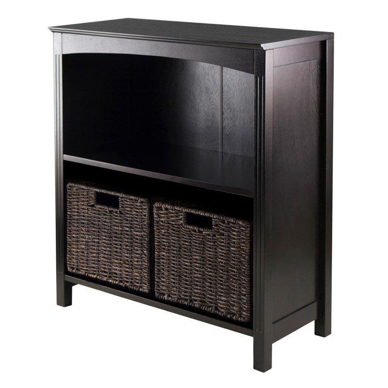 Winsome Wood Terrace 3-Tier Shelf with Small Baskets in Dark Espresso