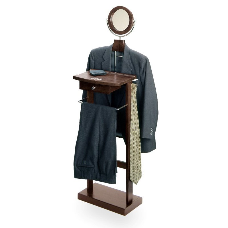 Winsome Wood Valet Stand with Mirror and Coat Racks in Espresso Beechwood