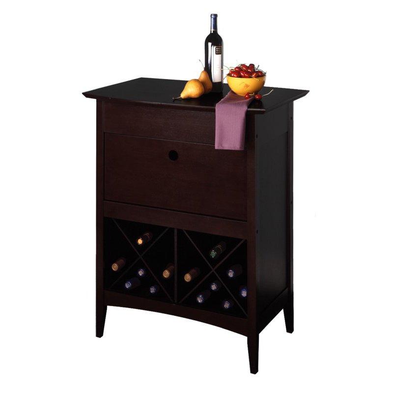 Winsome Wood Wine Butler with Glass Rack in Dark Espresso