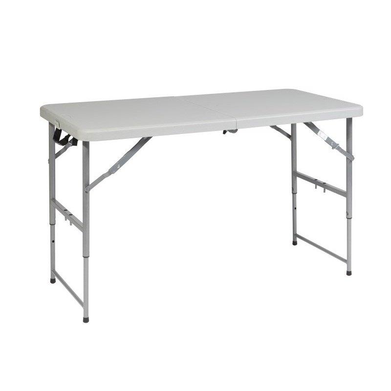 Work Smart 4' Height Adjustable Fold in Half Resin Multi Purpose Table