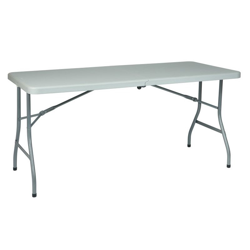 Work Smart 5' Resin Multi Purpose Center Fold Table with Wheels