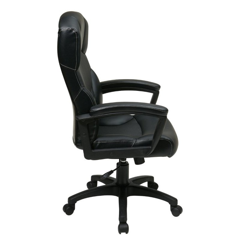 Work Smart Black Bonded Leather Office Chair