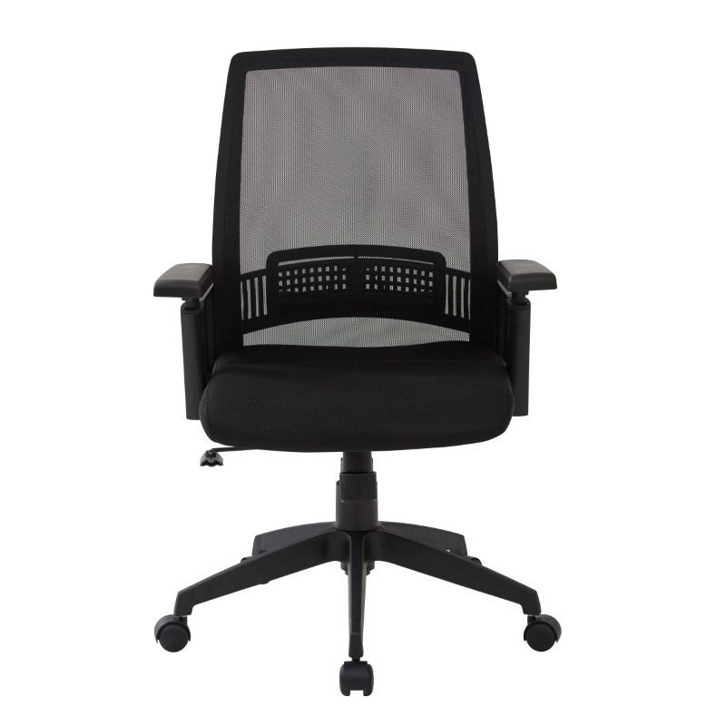 Work Smart Black Office Chair with arms' adjustable height and nylon Base