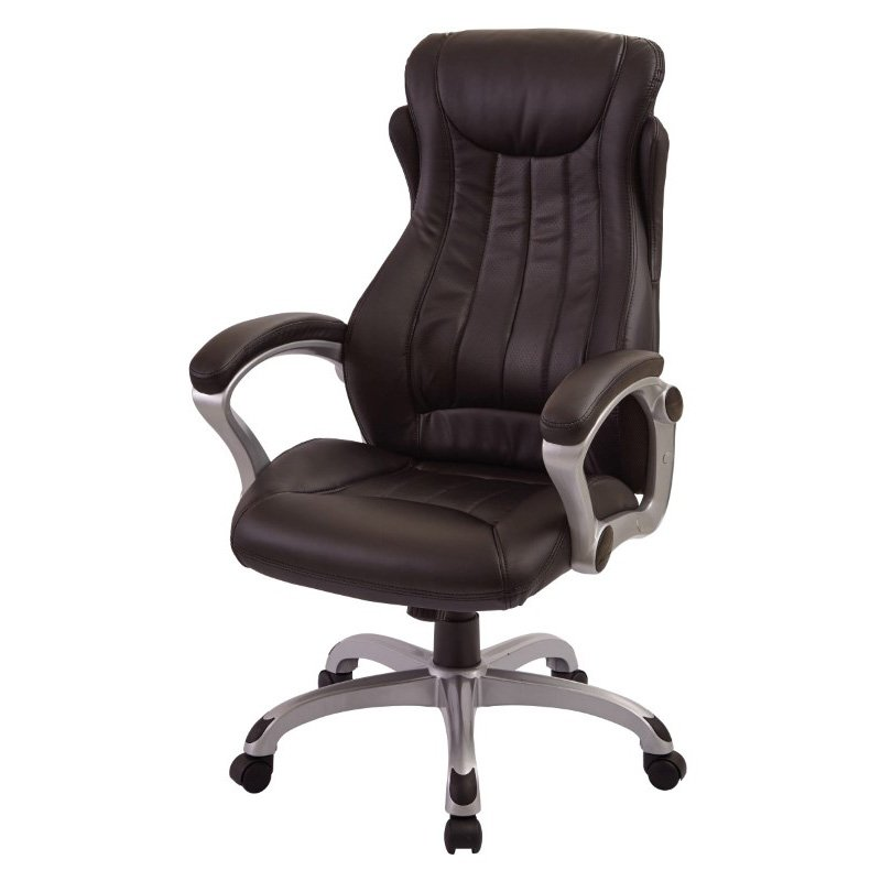 Work Smart Bonded Leather Executive Manager's Chair in Silver and Black