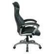 Work Smart Bonded Leather Executive Manager's Chair in Titanium and Black