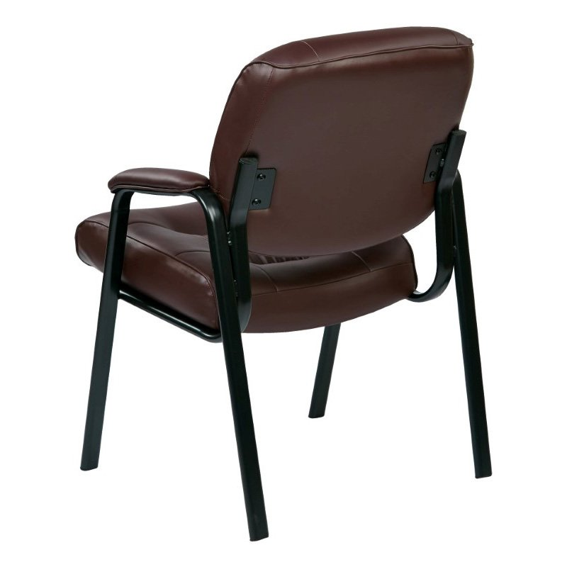 Work Smart Bonded Leather Visitors Chair in Burgundy