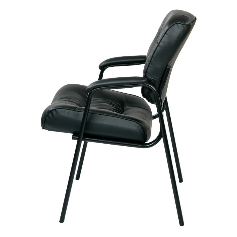Work Smart Bonded Leather Visitors Chair in Black