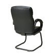 Work Smart Bonded Leather Visitors Chair with Padded Arms and Sled Base