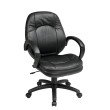 Work Smart Deluxe Black Faux Leather Managers Chair with Padded Arms