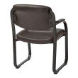 Work Smart Deluxe Faux Espresso Leather Visitors Chair with Sled Base' Padded Arms and Heavy Duty Metal Sled Base