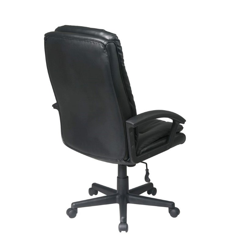Work Smart Deluxe High Back Executive Black Bonded Leather Chair