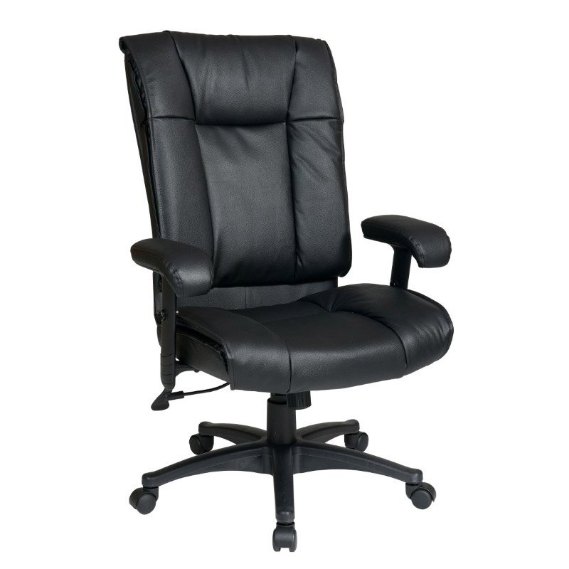 Work Smart Deluxe High Back Executive Deluxe Coated Black Leather Chair with Pillow Top Seat and Back