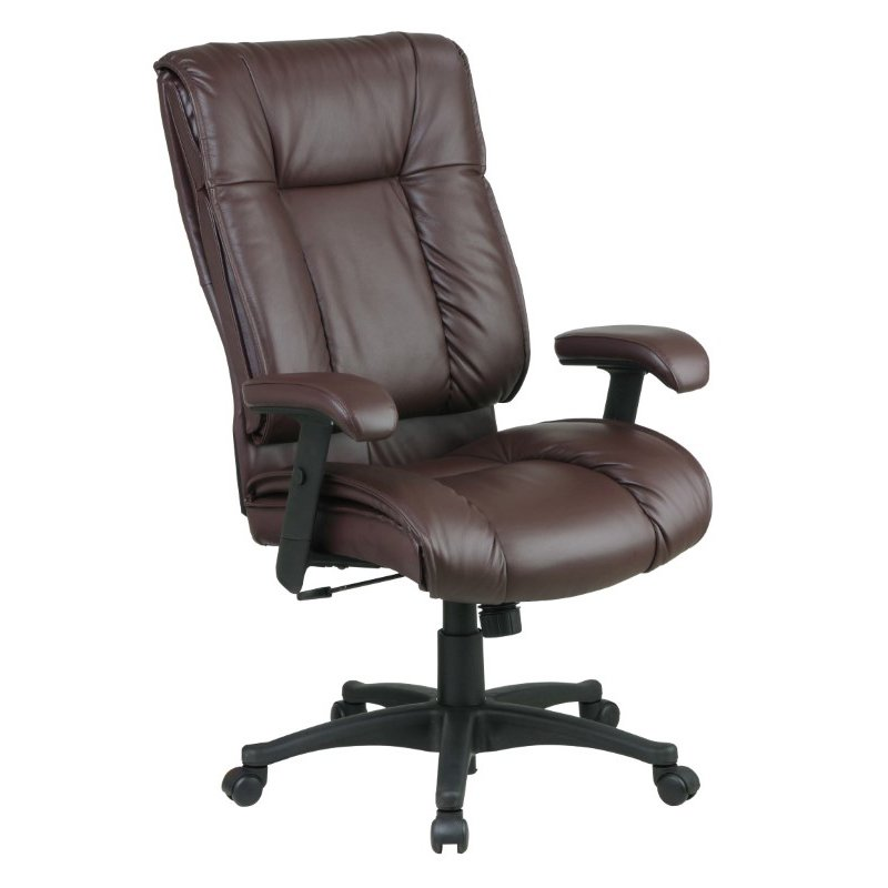 Work Smart Deluxe High Back Executive Deluxe Coated Burgundy Leather Chair with Pillow Top Seat and Back