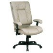 Work Smart Deluxe High Back Executive Deluxe Coated Tan Leather Chair with Pillow Top Seat and Back
